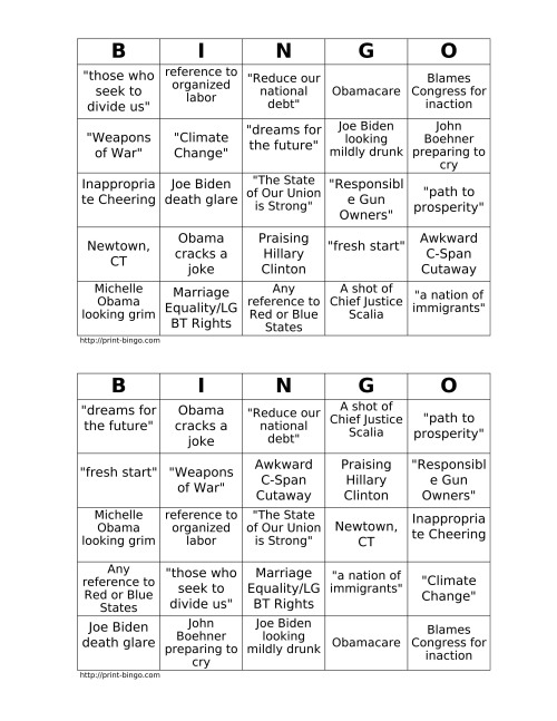 A sample bingo sheet I made