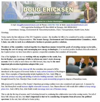 Ericksen's Legislative Update