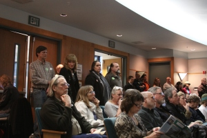 Standing room only for much of the meeting