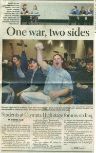 That's me in the top left as part of a student panel on the Iraq War.